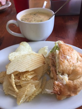 Bay Saint Louis, MS: Red Beans & Rice and broccoli cheese soup & chicken salad sandwich.