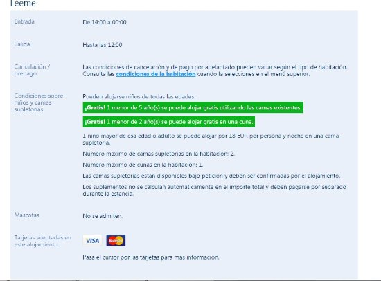 Abanillas, España: Condiciones de booking sobre entrada al hotel...para que no quede duda por el mensaje de MariaA
