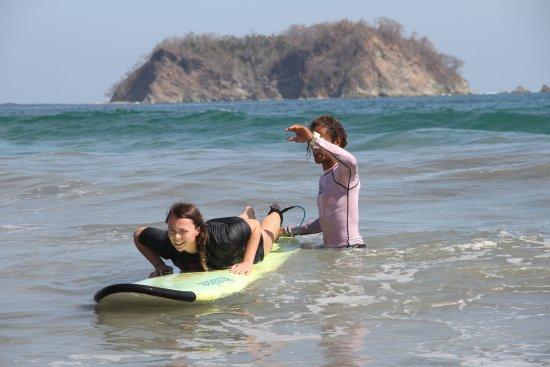 Choco's Surf School: A little push helps.