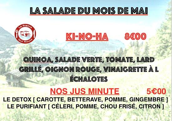 Douvaine, ฝรั่งเศส: la salade du mois et nos jus minute