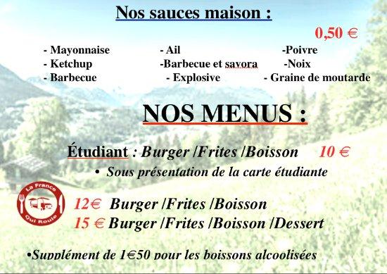 Douvaine, ฝรั่งเศส: nos menus et sauces