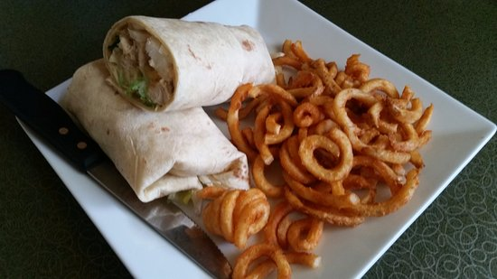 Monroe, WI: Grilled Chicken Wrap with curly fries