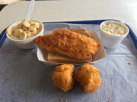 Jeffersonville, Indiana: The not clammy Clam Chowder, first mate sandwich, coleslaw, and hush puppies.