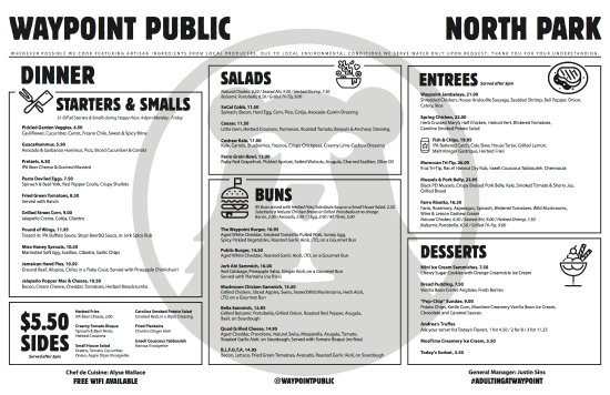 Waypoint Public: Dinner menu. *Subject to change.