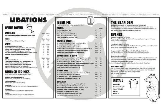 Waypoint Public: Libations menu. *Subject to change.