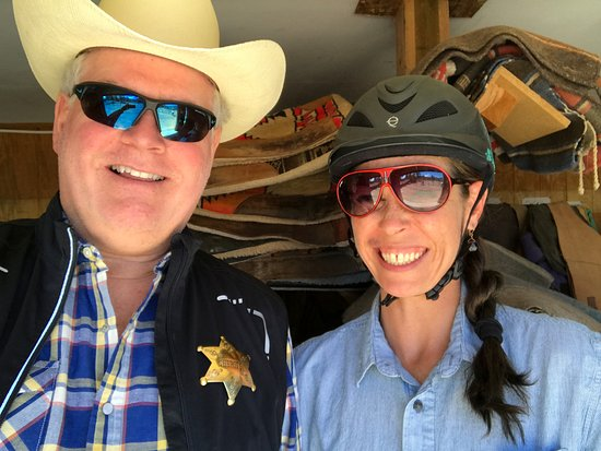 Red Feather Lakes, CO : Michelle, the top wrangler, with the Dude at Dude Ranch