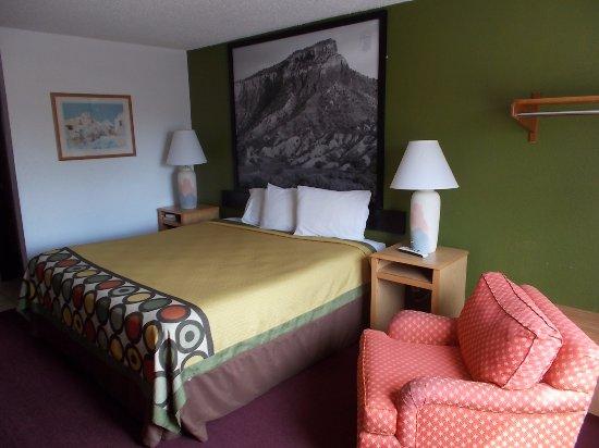 Super 8 Santa Fe: Super 8, Cerrillos Rd, Santa Fe, NM. King Size Bed.