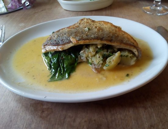 Pewsey, UK: durage with crushed new potatoes and spinach with a lemon butter sauce