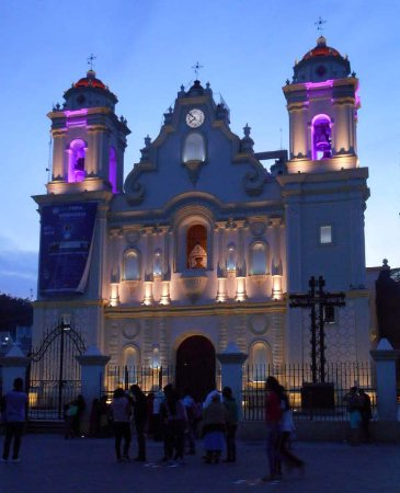 Santa Catarina Juquila, Mexico: view of church at dusk