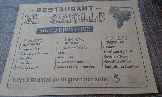 Parrilla El Criollo: Opción Menú 3 Pasos