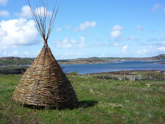 Craignure, UK: A willow teepee on the croft