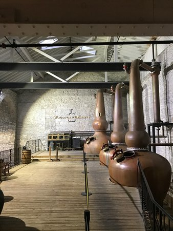 """Versailles, KY: Copper pot distillery (Note: """"Outline"""" of Woodford Reserve bottle on the back wall)"""