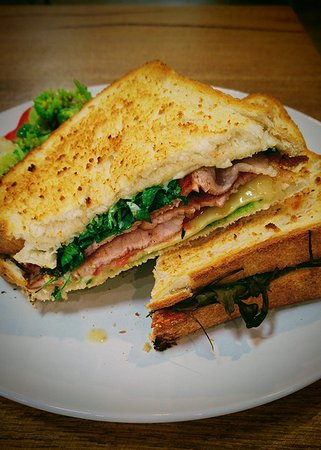 """Bickley, Australia: The toasted """"Sammich"""" changes every week or two.. this is the BLT with cheese, aioli and pesto"""