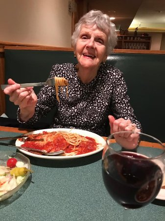 Weymouth, MA: My Mother-In-Law enjoying her Eggplant Parm.