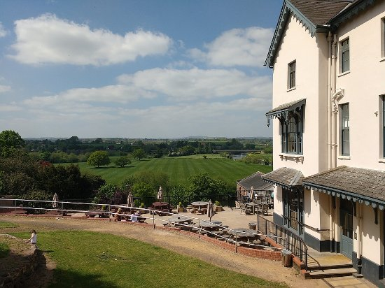 The Royal Hotel: Balcony view looking across terrace to River Wye