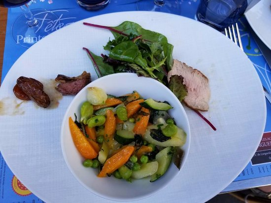 Culinary Tours of Paris: Aromatic roasted vegetables with veal roast and pigeon at second stop.