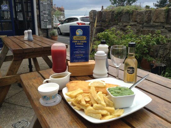 Lynmouth's Traditional Fish and Chips Fish on the Harbour: Lunch in the garden?
