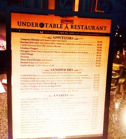 Menu Picture Of Under The Table Toronto Tripadvisor