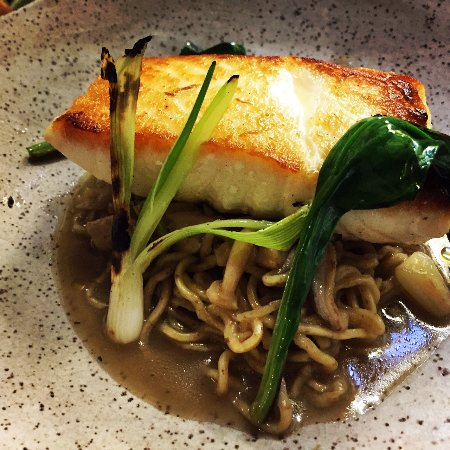 Inn at Weathersfield: East coast halibut, housemade ramen noodles, herbaceous miso broth, scallions, ramps, mushrooms