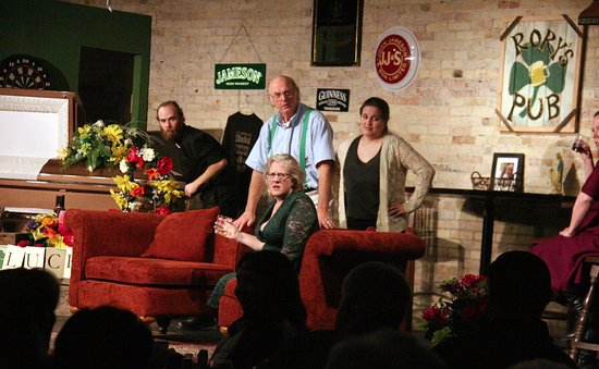 Little Falls, MN: An on stage shot of the cast of Lafferty's Wake from the 2016 Fall Dinner Theater production