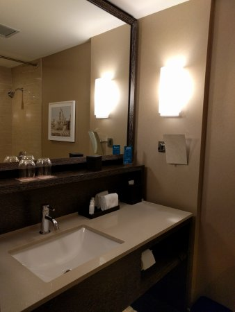 Kimpton Hotel Palomar Chicago: Sleeping area, bathtub, vanity, and partial view of overall bathroom.