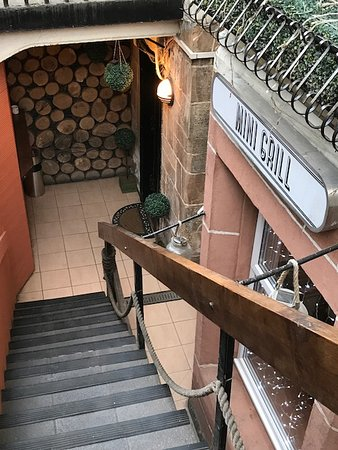 stairs down to the restaurant picture of mini grill. Black Bedroom Furniture Sets. Home Design Ideas