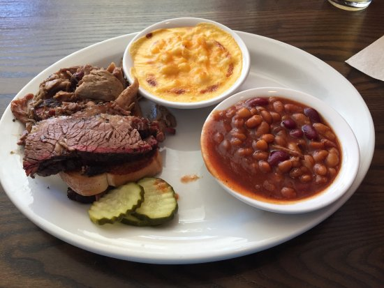 Weston, MO: 2-Meat BBQ Platter (Brisket & Pulled Pork) with beans & Mac/cheese