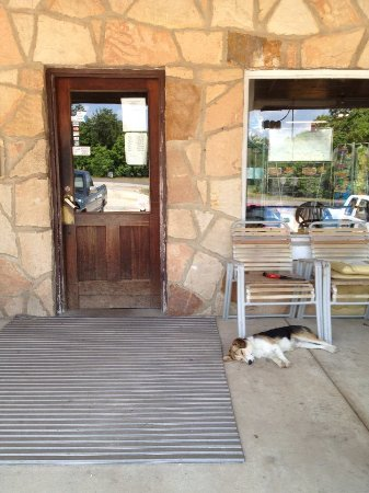 Cherryville, MO: Front porch of Bowers and Cottrel store and restaurant.