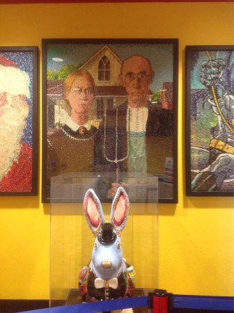 """Jelly Belly Factory Tour: """"American Gothic"""" made of jelly beans."""