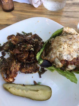 Ojai, CA: Lodge burger with fried egg (no bun) & Brussel sprouts