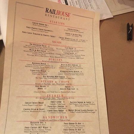 Menu Picture Of Railhouse Restaurant Fountain Inn Tripadvisor
