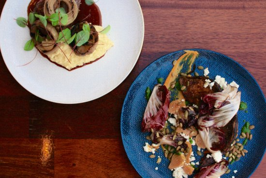 Slow braised beef cheek with jus polenta charred onion for 8th ave terrace palm beach