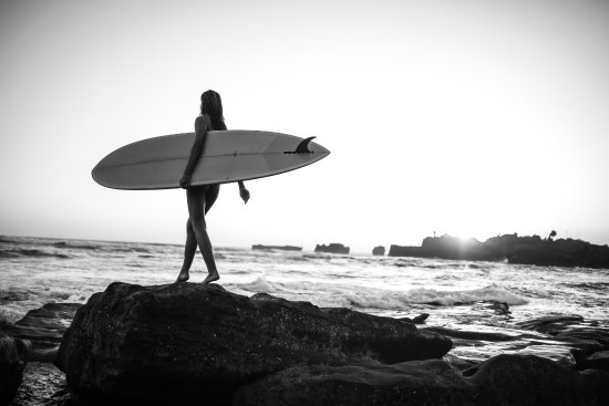 Pro Surf School Surfer Girl B/W