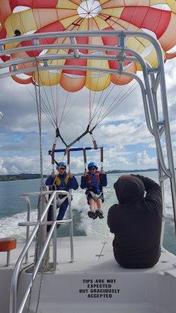 Flying Kiwi Parasail: Tandem parasailing, just taking off !