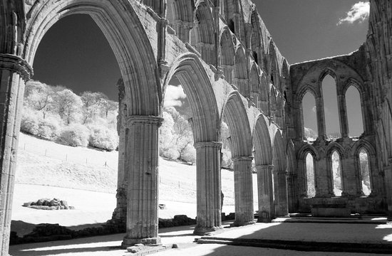 Helmsley, UK: Rievaulx Abbey, shot in IR.