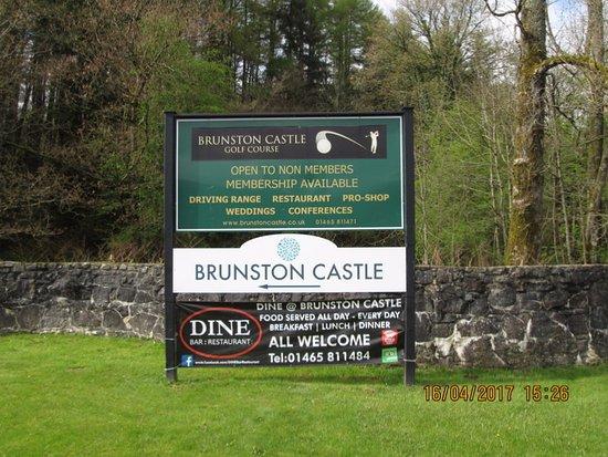 Brunston Castle: entrance board from main road