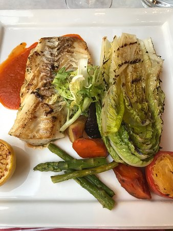 Pinzimini: Seared white fish , romaine, carrots & stuffed Roma tomato