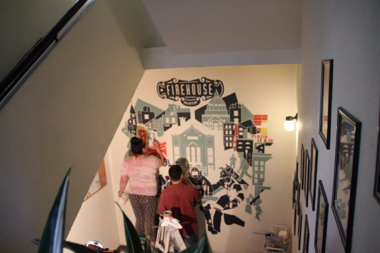 Firehouse Hostel - New painting on the stairwell