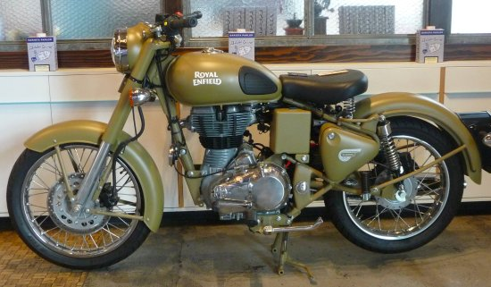 Royal Enfield motorcycle, one of two in Barista Parlor on my visit ...