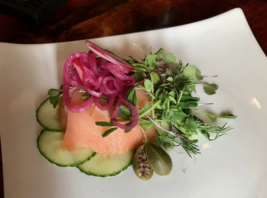 Old Vines Wine Bar: smoked Duck Trap River salmon mousse, dill mascarpone, cucumber, caper berry, pickled red onion