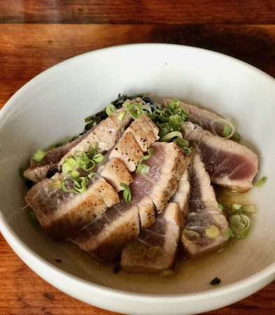 Kennebunk, ME: Seared tuna with wakame salad, sesame and lemongrass vinaigrette, scallions, and chili oil