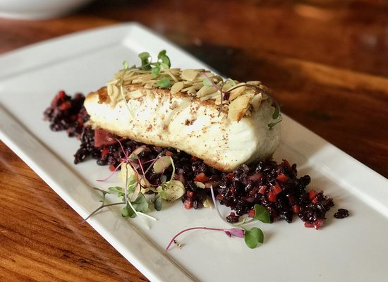 Kennebunk, ME: pan-seared halibut with almond and brown butter crust on a bed of chilled forbidden rice salad