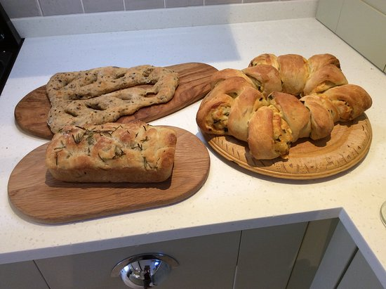 Longhope, UK: Focaccia, Fougasse and Double Gloucester and spring onion tear and share bread.