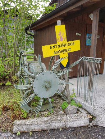 Faulensee, Switzerland: the potato harvest machine which is used to remove the bomb trap
