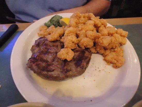 Stockbridge, GA: Sirloin steak Special - Baby Shrimp and (Baked Sweet Potato on side dish)