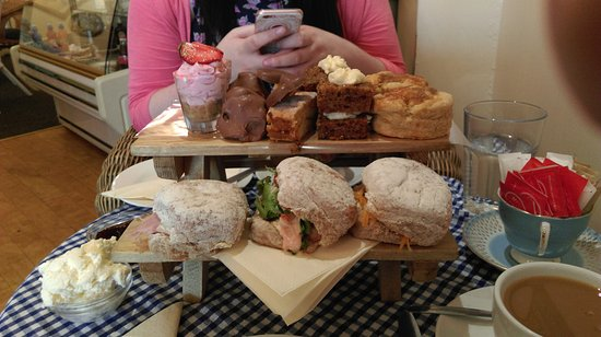 Mini picnic bench full of delicious food