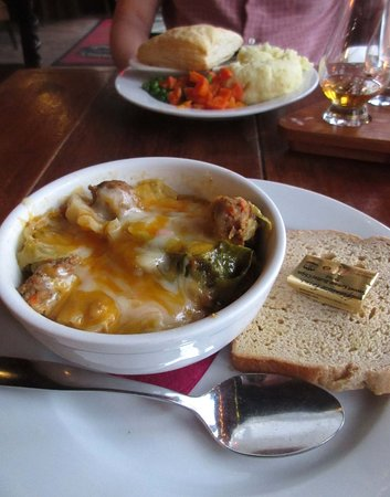 "Chester, VT: Dinner....Auld Reekie Stew in front and the steak pie ""topped"" with puff pastry behind."