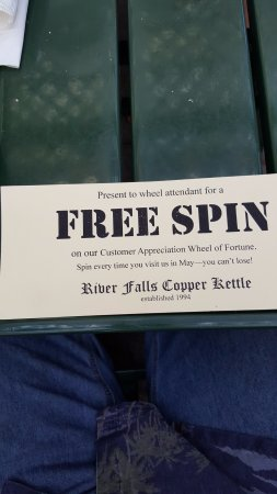 River Falls, WI: get a free spin on the wheel of fortune