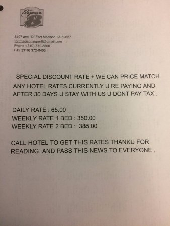 Fort Madison, IA: special discount rates by hotel