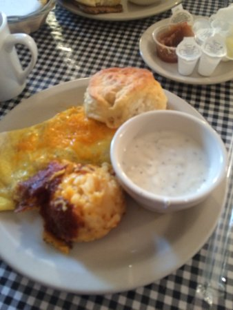 Colfax, NC: Cheese & ham omelet, hash brown casserole, biscuit and peppery gravy